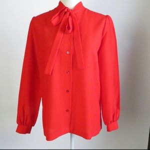 VINTAGE Red Pussy Bow Button Down Blouse Aprx Sz M